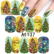 1 Sheet Christmas Tree Nail Art Water Transfer Sticker DIY Colorful Full Wraps Watermark Nail Tip For Decoration BEA1137