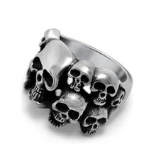 Punk Style Skull Biker Ring With More Heads 316l Stainless Steel 2017 Cool Fashion Rings For Women Mens Top Quality Bague