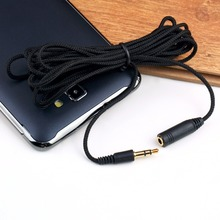 1Pcs 3.5mm Male to Female Audio Cloth Cable 10Ft 3M Stereo Earphone Extension Cable Black Promotion