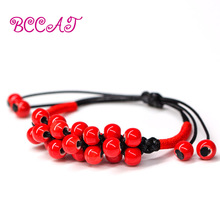 BCCAT fashion jewelry ceramic Handmade bracelets bangles for women gift Adjustable length charm bracelets with porcelain beads(China)