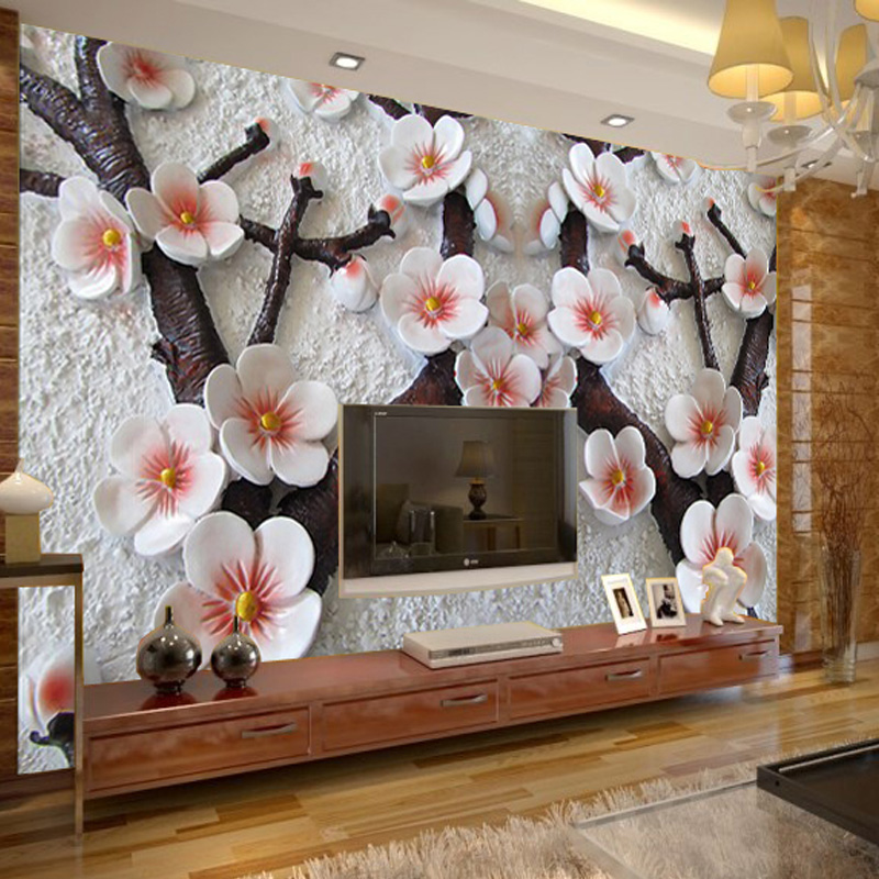 High Quality Modern 3D Wall Mural Wall Paper Wintersweet Embossed Flower Living Room Restaurant Wallpaper Papel De Parede WP126<br>