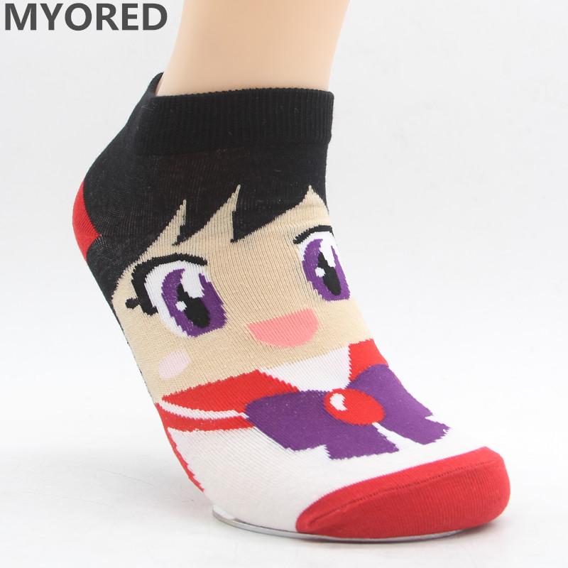 MYORED Spring summer fashion women's short tube socks cartoon cotton socks Cute lovely sailor moon female ankle sock 6pair/Lot 12