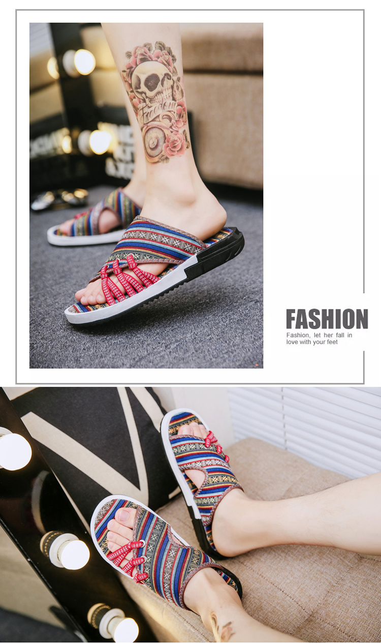 Fashion National style Men Slippers Casual Male Cotton Fabric Summer Outdoor Beach Shoes Non-slip Indoor Floor Leisure ShoesZ172 17 Online shopping Bangladesh