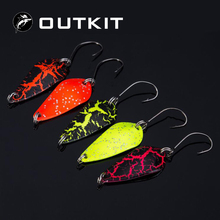 OUTKIT Free Shipping 5pcs Mix Colors 3cm 3.5g Fishing Spoon Lure Swim Bait Artificial Trout Lure Pesca Fishing Tackle(China)