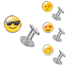 2017 Wholesale Glass Cabochon Emoji Cufflinks For Men Silver Plated Cuff Links High Quality Cuff Link Jewelry Men Cuff Links