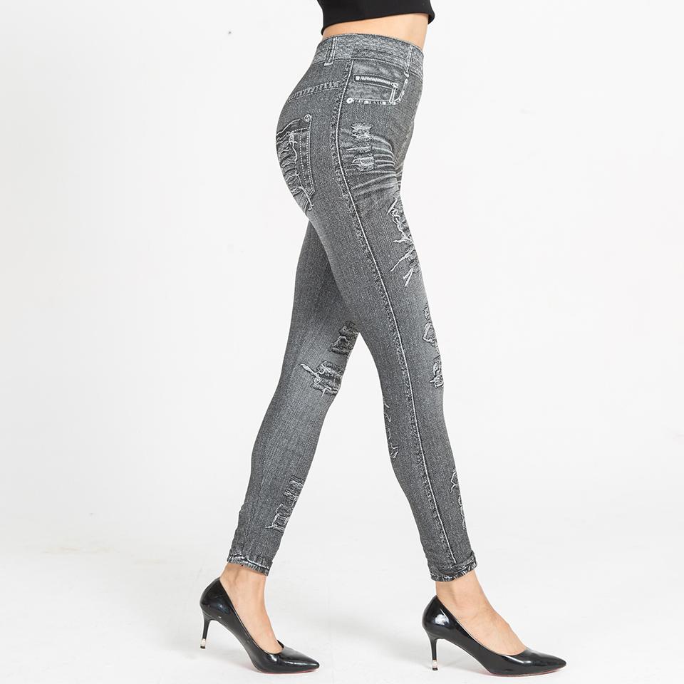 Autumn Women's Print Leggings, Mock Pocket, Hole Jeans Leggings 14
