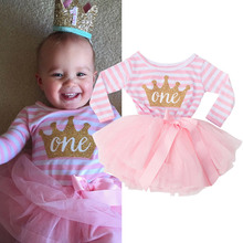Toddler Kids Clothes 2017 Princess Striped Girls Tulle Dresses Crown Print For 1 2 3 Birthday Party Tutu Dress Children Clothing