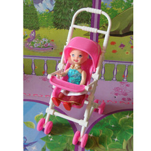 DIY Assemble Baby Carriage Stroller Doll Furniture Happy Family For BABY 2016(China)