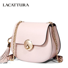 LACATTURA Small Bag Women Messenger Bags Split Leather Handbag Lady Tassels Chain Shoulder Bag Crossbody for Girls Summer Colors(China)