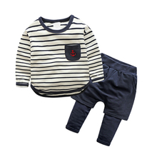 Children's Outfits 2017 Spring Kids Boys Clothing Set Long Sleeve Striped T-shirt And Pants Baby Casual Twinset 2-3-4-5-6-7 Age