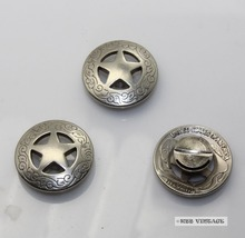 (KB201) Daily deal 50pc 3/4'' Metal Concho Western Texas Star Concho Leathercraft Antique-Silver