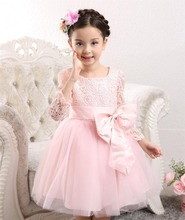 Fashion Girl Summer Pink Chiffon Bow Dress Kids Birthday Clothes Baby Baptism Dress Wholesale 1pcs/lot(China)