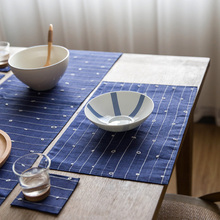 Export Japan Zakka Style Blue Handmade Ramie Double Layers Table Runner Placemats Dining Tea Mug Drink Coasters Bar Mat Doilies