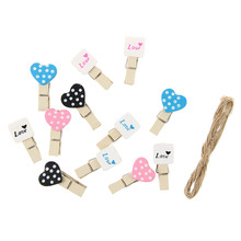 12pcs Wooden Heart-Patterned Photo / Memo / Post Card / Drawing Clips Clothespins(China)