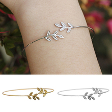 Women's Simple Leaves Bangle Bracelet Tree Leaf Charm Gold Silver Plated Jewelry  6TYM