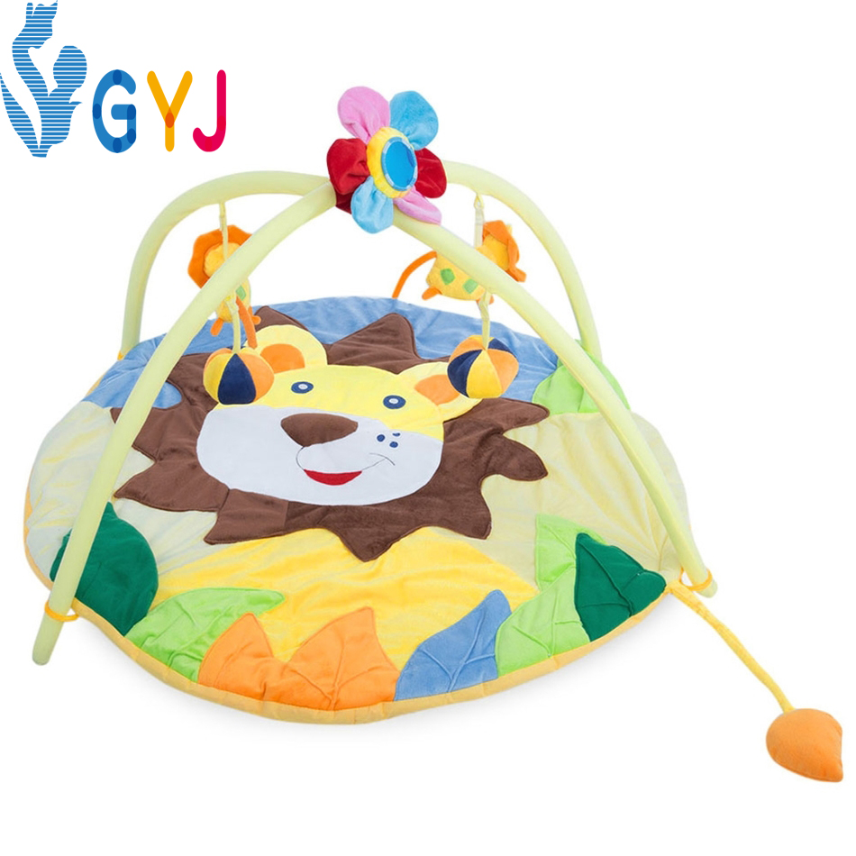 portable baby playpen Bolster Babies Comfort Soft Game Crawl Cushion with Cartoon Decoration Sleeping Toys fabric lion Bedding<br>