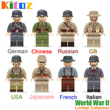 Kitoz Military WW2 USA Soviet Chinese German Japanese GB Italian French Army Mini Doll Building Blocks Toy Limited Rare Collect(China)