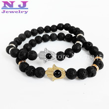 Big Promotion Jewelry Black Lava Energy Stone Beads Gold Hamsa Hand Bracelets Wholesale New Products for Men's and Women's GIft