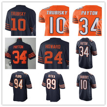 Men's Mitchell Trubisky Walter Payton Alshon Jeffery Jordan Howard Mike Singletary Brian Urlacher Kyle Long Custom Bears Jersey(China)