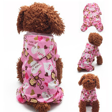 Pet Cute Cartoon Monkey Hoodie Waterproof Raincoat Small Dog Clothes Dog Legs Poncho Pet Jumpsuit Raincoat FG