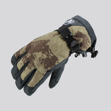 Women's khaki and black ski gloves waterproof female snowboarding gloves touch screen design autumn winter outdoor sports gloves