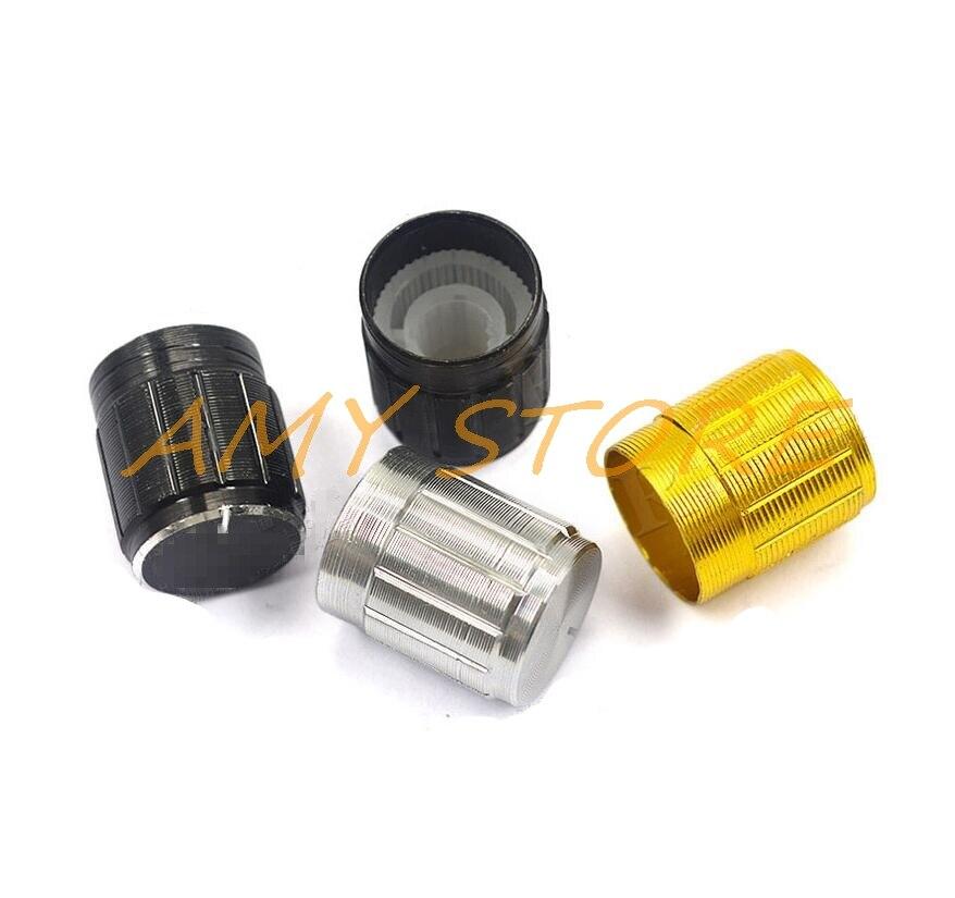 "Round Silver Aluminum Knob w//pointer for 1//4/"" Shaft hi-fi Japan 6 pcs"