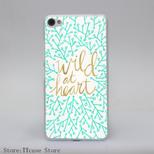 3905G Wild At Heart Turquoise Gold Print Transparent Hard Cover Case for Lenovo S850 S60 S90 A536 A328
