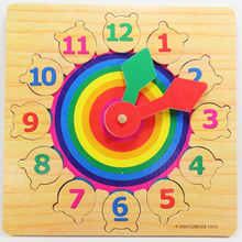1pc Colorful Kids DIY Wood Clock Learning Education Toys Magic Cubes Puzzles Develop Intelligence Game Children 3-6 Years Old(China)