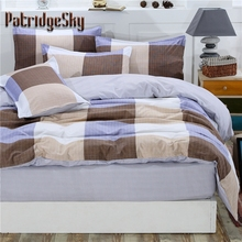 4pcs Brief Plaid Polyester+Cotton Bedding Set Duvet Cover Set Bed Cover Fitted Sheet Set Queen King Coffee Beige Light Blue