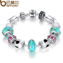 Aliexpress Hot Sell  Silver Charm Bracelet Bangle for Women with Murano Beads Fashion Love DIY Jewelry PA1019