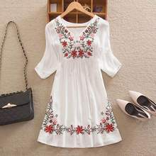 Women Mexican Embroidered Floral Peasant Blouse Vintage Ethnic Tunic Boho Hippie Clothes dressy tops(China)
