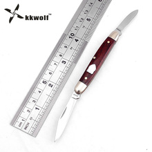 KKWOLF Portable tactical Pocket folding knife  Double blade Redwood Handle Fine Outdoor Camping Hunting Survival Knife EDC Tool