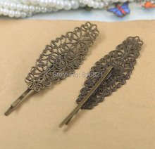 24x64mm Blank Bobby Pins Bases Settings Filigree Flower pads Hair Clip Hairpins Crafts DIY Findings Silver/ bronze tone