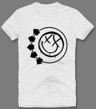 Blink 182 Stamp Smiley Face Men's 100% Cotton Short Sleeve Printing T Shirt O-Neck Personalized Custom Tee Shirt Fashion