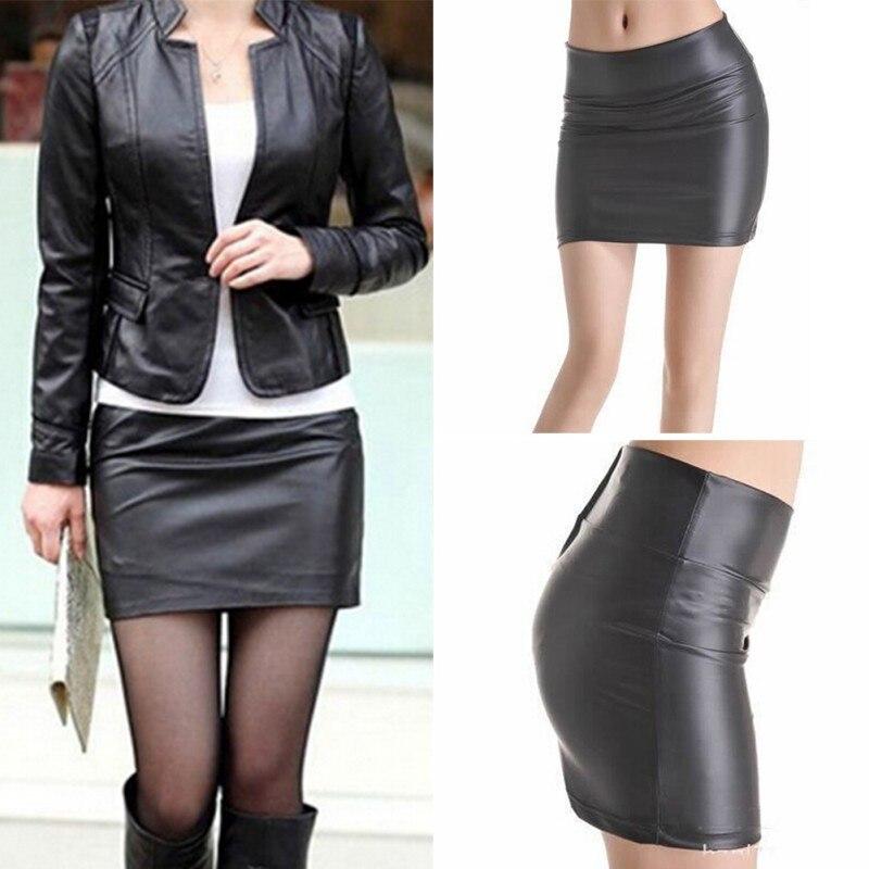 Women's PU Front Zip Detail Pencil Skirt Ladies Faux Leather Mini Skirt