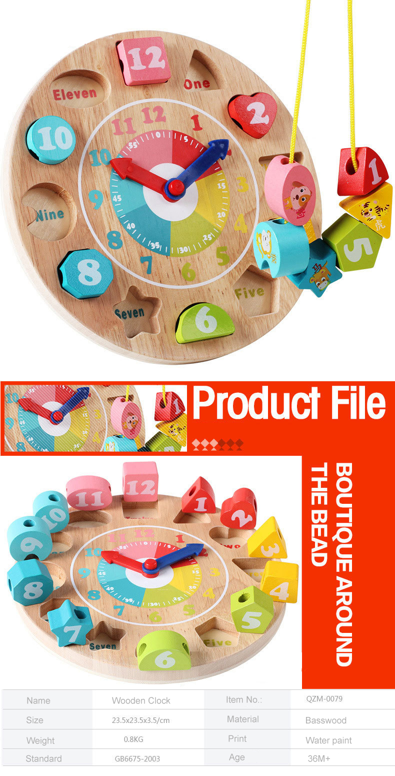 Baby toy wooden toys wooden clock model building blocks Number and Animal Beaded Monterssori learning educational board games 1