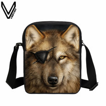 VEEVANV 3D Wolf Printing Messenger Bags Casual Moon Light Rose Pirate Wolf Shoulder Bag For Women Cool Animal Bags For Lady