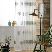 (1piece) Readymade embroidered sheer curtains panel, #LR-yixia modern customized window door blinds garden tulle for living room