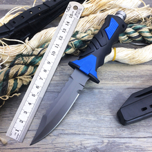 New Arrival Outdoor Diving Knife 440C Blade Rubber Handle Black Coating Hunting Fixed Knives Survival Knife Useful Diving Tools