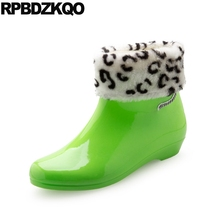 Waterproof Candy Rain Boots Green Cheap Shoes Booties Fur Women 2017 Ankle Autumn Flat Slip On Chinese Short Fashion Female(China)