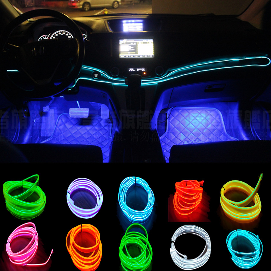 5 Meter 2.3mm Car Styling Car Interior Light Car Ambient Light Cold Light Line DIY Decorative Dash Board Console Door Auto Lamps<br><br>Aliexpress