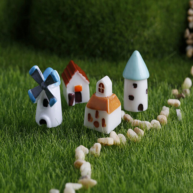 2Pcs cute Micro landscape bonsai decor resin crafts windmill church castle Hut house fairy garden miniatures home decor(China (Mainland))