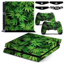 Cannabis Leaf Weed PS4 Vingl Skin Decal Sticker Cover for Sony Playstation 4 Console & Play Station 4 Controller & LED Light Bar(China)