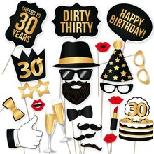 Photo Booth Props 30th Birthday Party favors Man Woman style 30Years Moustache Glass Mask 30th Photobooth Props Decoration 36PCS