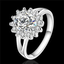 R145 beautiful design silver Sunflower Ring with Zircon wedding gift for woman fashion jewelry factory price
