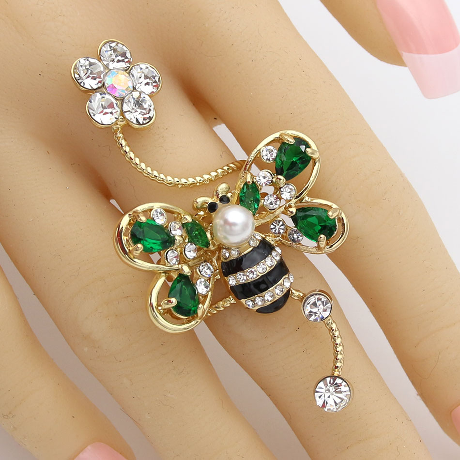 Exquisite Women Bee Spiral Ring Gold Plated Cubic Zirconia Insect Animal Flower Wedding Female Finger Ring Trendy Stack Jewelry