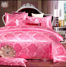 Pink silk wedding bedding sets king size comforter cover set queen duvet cover 4pcs bed covers satin bedspread cotton sheet 5357
