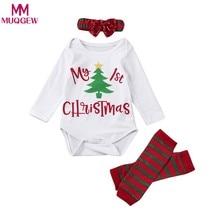 3 piezas 2018 Navidad bebé recién nacido niños niñas de carta de manga larga  mameluco + pierna rayas más caliente + moño diadema. b7b758c45617