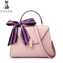 FOXER Female bag leather Kelly bag metal lock handbag leisure wild Messenger bag fashion shoulder bag(China)