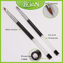 Crystal Rhinestone Handle Acrylic Brush Kolinsky Oval Nail Brush for Acrylic Nail 8#(China)